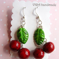 Cute realistic handmade polymer clay cherry with leaf red and green earrings