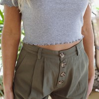 Kim Button Front Short, Olive