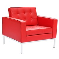 Button Arm Chair in Leather, Red