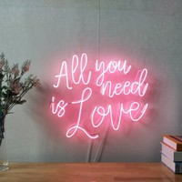 All You Need Is Love Real Glass Neon Sign For Bedroom Garage Bar Man Cave Room Home Decor Handmade Artwork Wall Lighting Includes Dimmer