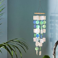 Coastal Inspired Wind Chime with Wooden Round Top and Ring Handle, Multicolor