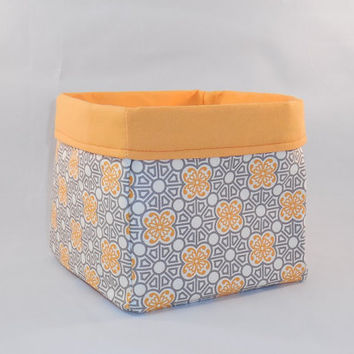 Gray and Orange Fabric Basket For Storage Or Gift Giving
