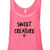 """Harry Styles """"Sweet Creature"""" Heart Boxy, Cropped Tank Top"""