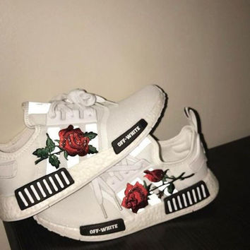 """Embroidery Rose """"Adidas"""" Women Running Sport Casual Shoes Sneakers"""