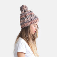 Crochet Beanie Hat, Chunky Knit Hat, Womens Slouchy Hat, Wool Bobble Hat, Colorful Stripes Hat, Extra Soft Beanie, Colorful Stripes Hat
