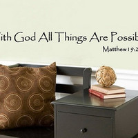 With God All Things Are Possible Wall Decal Matthew19 26-22063