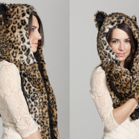 womens autumn winter warm hat lady chapeau animal cap scarf multifunctional girl neckerchief with pocket + free gift cute elephant ring 145