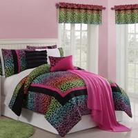 11 Pc Multi Color Leapord Print Bed in a Bag for Twin Size Bedding and Comforter Set By Plush C Collection