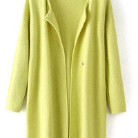Yellow Long Sleeve Knit Cardigan