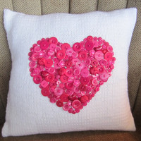 Deep pink button heart motif hand knit pillow