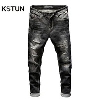 KSTUN Ripped Jeans for Men Slim Fit Stretch Fashion High Street Style Male Denim Pants Frayed Destroyed Vintage Mens Punk  Jeans