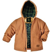 Kids' John Deere Insulated Duck Hooded Chore Coat Brown