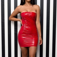 Tania Faux Leather Dress - Red