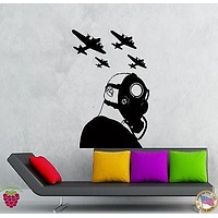 Wall Stickers Vinyl Decal Girl War Jets Gas Mask Soldier Military  Unique Gift (z2135)