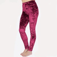 Burgundy Crushed Velvet Leggings