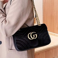 New CG gold velvet top layer chain bag fashion lady one-shoulder messenger bag