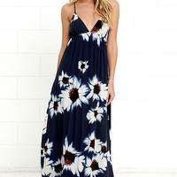 Explore Every Avenue Navy Blue Floral Print Maxi Dress