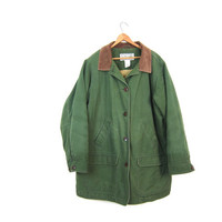 Vintage Olive Green Canvas Barn Coat 90s Mens LL BEAN Chore Jacket Ranch Coat Oversized Fall Winter Quilted Field Coat Pockets Men's Large