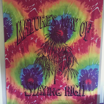 Natures Way Of Staying High Wall Tapestry Bedspread - marijuana wall tapestry, bohemian decor, boho weed tapestry, hippie weed tapestry