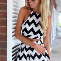 Zig-zag Crossed Tied Back Two-Piece