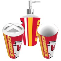 Kansas City Chiefs NFL Bath Tumbler, Toothbrush Holder & Soap Pump (3pc Set)
