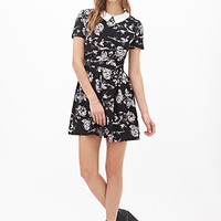 FOREVER 21 Peter Pan Collar Floral Dress Black/Cream