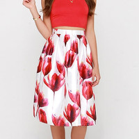 Red Tulip Print Pleated Skater Skirt