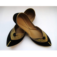 Black Flats/Ethnic Shoes/Velvet Shoes/Gold Shoes/Handmade Indian Designer Women Shoes or Slippers/Maharaja Style Women Jooties