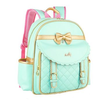 CrazyPomelo Golden Bowknot Princess PU Backpack for Primary School Girls Green - L