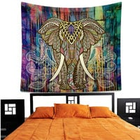 Indian Elephant Compass Mandala Hippie Wall Hanging Tapestry Gypsy Bedspread Throw New Tapestry
