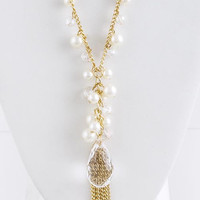 FACETED ACRYLIC WITH TASSEL ACCENT PEARL NECKLACE SET