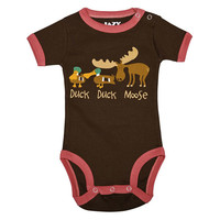 Lazy One Infant Creeper - Duck Duck Moose Pink CR750A