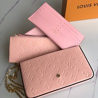 LV Louis Vuitton new ladies embossed letters patent leather three-piece chain diagonal bag shoulder bag Pink
