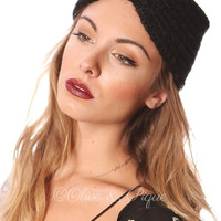 Faux leather heavy knitted head wrap- Black