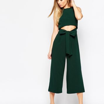 ASOS Culotte Jumpsuit with Cut Out Front at asos.com