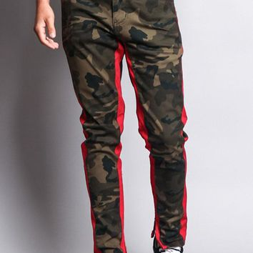 Men's Double Taped Track Style Camo Pants