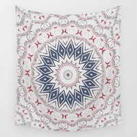 Dreamcatcher Berry & Blue Wall Tapestry by ALLY COXON