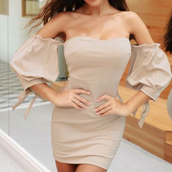 Female hot style wrap chest sleeve cuff bow slim fitting
