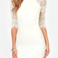 White Lace Sleeve Bodycon Dress