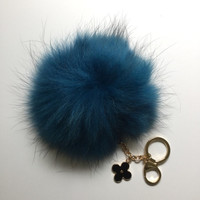 Fur Pom Pom keychain luxury bag charm pendant clover flower keychain keyring in deep ocean blue with natural black strip