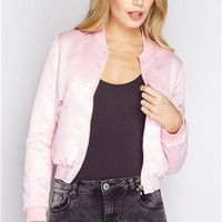 Gigi Baby Pink Luxe Bomber Jacket at misspap.co.uk