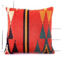 Decorative kilim pillow cover 16x16 inches Bohemian kilim pillow cover Home Decor Natural pillow Boho pillow Accent Pillows