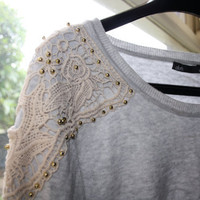 Lightweight Grey Sweater with Gold Beads and Ivory Lace Detailing (Slouch Fit)