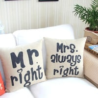 Mr and Mrs Right Decorative Pillow Case from chiccasesandhomeproducts