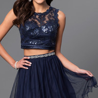Short Two-Piece Navy Homecoming Dress