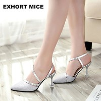 Spring  High Heels Sandals lady Pumps classics slip on Shoes sexy Women party shoes gold silver Wedding Slingbacks 8cm