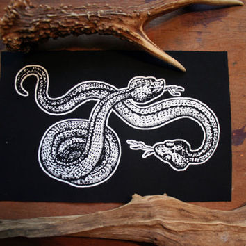 Adders snake patch -  slytherin patch, horrow patch witch patch, nu goth patch, animal occult patch, witchcraft screen print patch dark mori