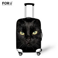 FORUDESIGNS Black Cat Luggage Covers for 18-30 Inch Trolley Suitcase Travel Suitcase Protective Cover Waterproof Elastic Covers