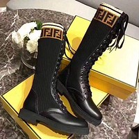 Fendi Women Fashion Leather High Boots Low Heeled Shoes