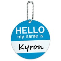 Kyron Hello My Name Is Round ID Card Luggage Tag